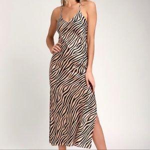 Lulu's Zebra Print Midi Dress